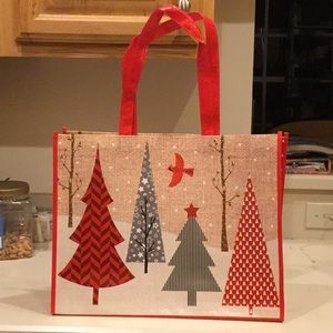 Other - Holiday Shopping Tote Red&Green Trees, Fallen Snow